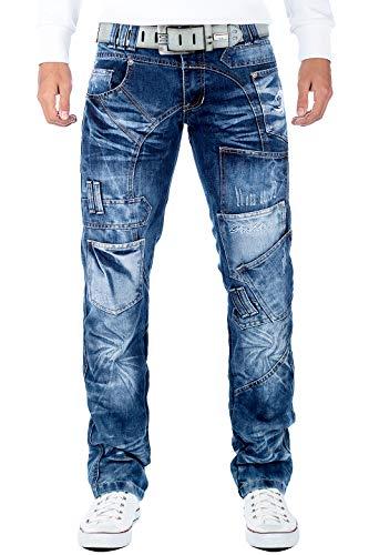 Kosmo Lupo Herren Jeans Hose KM120 , Blau, 36W / 32L