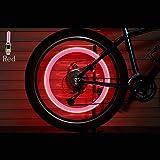 FJJ-VALVECAPS, 2PCS Bicicleta LED Luz Neumática Tapa de la válvula Bicicleta Flash Luz Montaña Carretera Bicicleta Ciclismo Neumático Rueda Luces LED Neón Lámpara Cubierta Rueda (Color : Rojo)
