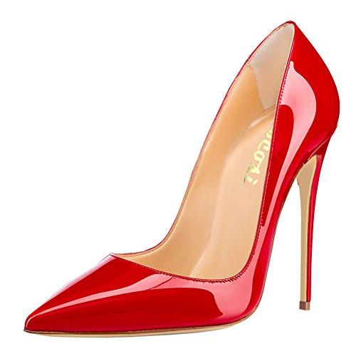 COLETER Zapatos de tacón alto para mujer, puntera puntiaguda, zapatos de charol para vestido de fiesta, color rojo
