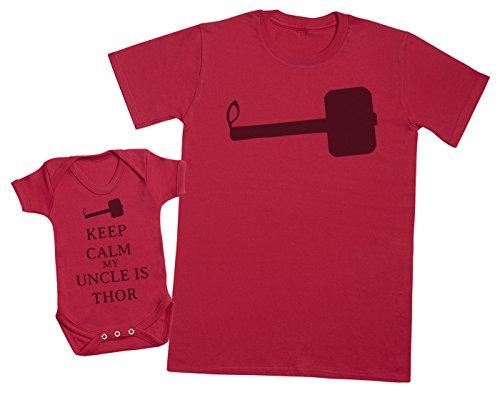 Keep Calm My Uncle is Thor - Ensemble Père Bébé Cadeau - Hommes T-Shirt & Body bébé - Rouge - Medium & 3-6 Mois