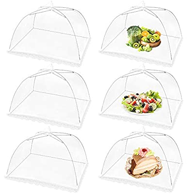 Mesh Food Covers Outdoor Masonda Pop-Up Food Tents(6 Pack) for Picnics/Grill/Party Outside Food Umbrella 100% Protection from Flies Reusable and Collapsible Net Cover 17×17 Inch