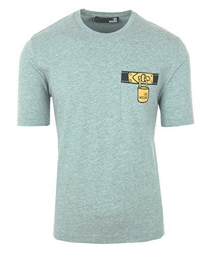 Love Moschino Herren Men T-Shirt Kurzarm Logo Grau Grey Brusttasche (M)