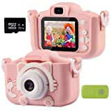 Kids Digital Camera for Age 3-10 Years Old Boys Girls, Update Dual Cameras 20.0MP Toddler 1080P Video Recorder IPS 2' Screen with 32G SD Card, Cat Soft Silicone Case (Pink)