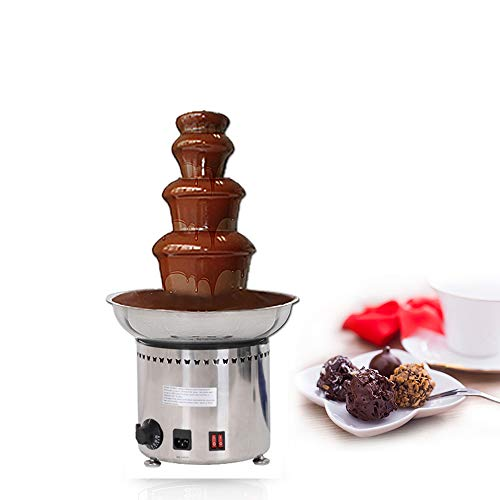 Huanyu 4 Tiers Commercial Electric Chocolate Fountain Machine 30-110℃ 3kg Automatic Chocolate Melter Warmer Sauce Heater Chocolate Fondue Waterfall Maker For Party Wedding Birthday Christmas (4 Layers, 110V/60HZ)