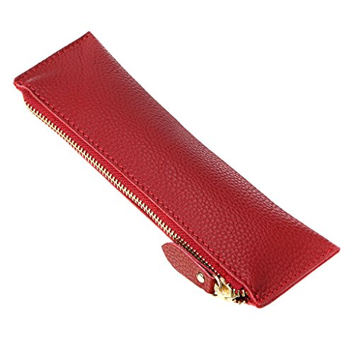 BTSKY Genuine Leather Pencil Case - Zippered Pen Case Stationery Bag Zipper Pouch Pencil Holder (Red)