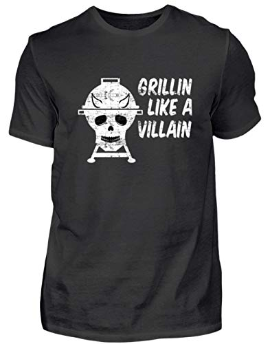 Grillin Like A Villain - doodskop met hoorns - barbecue grill - heren shirt