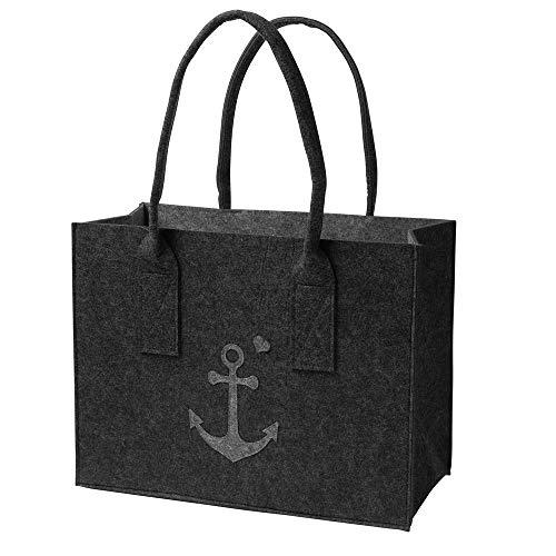 luxdag Einkaufstasche aus Filz 40x19x31cm mit Anker dunkelgrau-grau (Farbe wählbar)   Tasche mit Henkel, Einkaufskorb faltbar