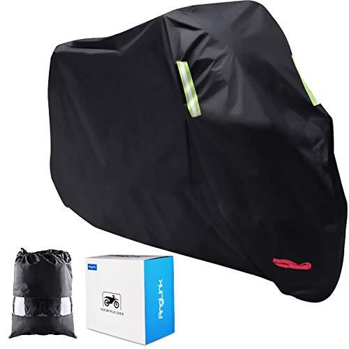 Funda para Moto, AngLink 210D Oxford 265 x 125 x 105 cm Funda Protector Cubierta de Moto Impermeable A Prueba de UV Agujeros de Bloqueo con Cubierta Contra Viento Negro