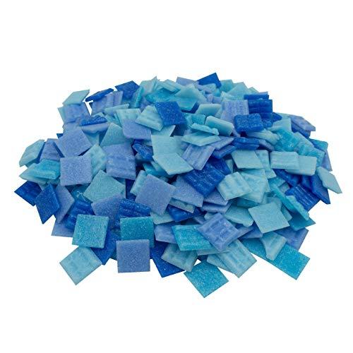 Mosaik-Profis Mosaiksteine versch. Farben (2x2 cm, 900g, ca. 340 St.) - buntes Mosaik ideal zum Basteln - Glasmosaik diverse Farben - keine Kunststoffverpackung (Blau Mix 1)