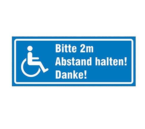 Aufkleber Rollstuhl, Bitte 2m Abstand halten!, Hinweisschild, 20 x 8 cm
