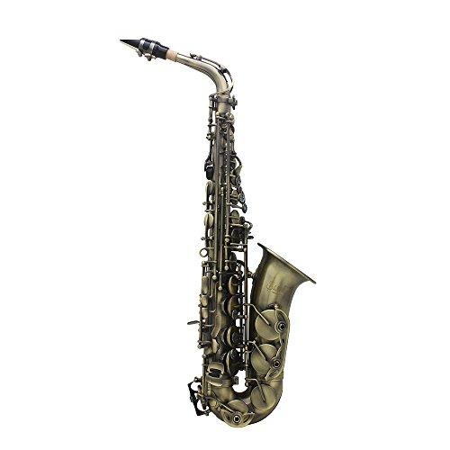 ammoon Hochwertige Antikfinish Bend Eb Es-Dur-Alt-Saxophon Sax Abalone Shell Schlüssel schnitzen Muster mit Fall Handschuhe Tuch Riemen Fett Reinigungsbürste