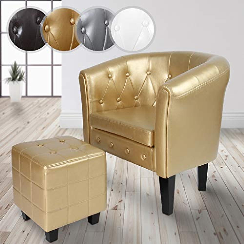 MIADOMODO Chesterfield Sessel und Hocker  aus Kunstleder und Holz, mit Rautenmuster, verfügbar  Lounge Sessel und Sitzhocker Set, Clubsessel, Armsessel, Wohnzimmer Mbel (Gold)