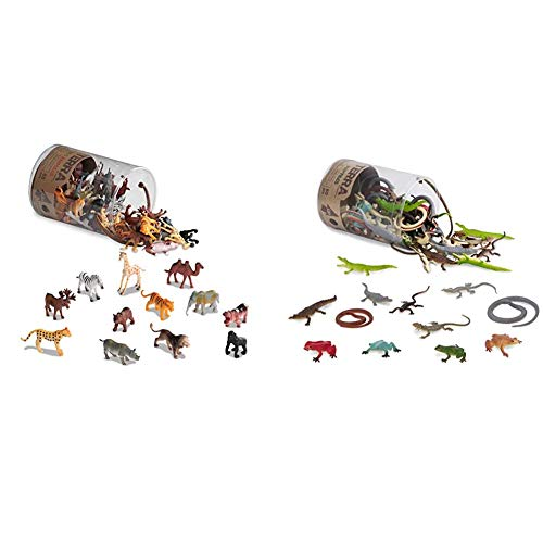 Terra by Battat – Wild Animals – Assorted Miniature Wild Animal Toys & Cake Toppers for Kids 3+ (60 Pc) & – Reptiles in Tube – Assorted Reptile Animal Toys & Cake Toppers for Kids 3+ (60 Pc)