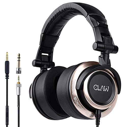CLAW SM100 Professional Studio Monitoring DJ Headphones with 2 detachable cables (3m Coiled Cable & 1.2m Straight Cable with Mic...