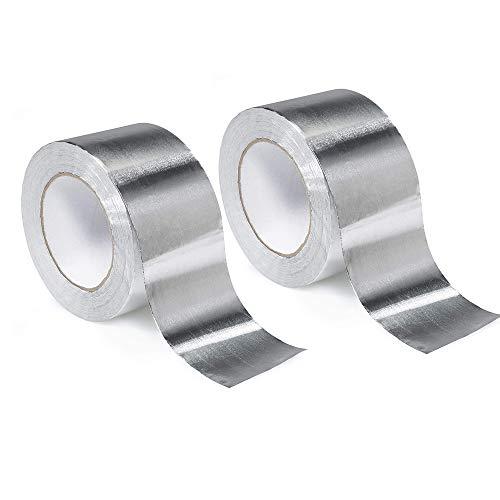 RBH 2 Piezas de Cinta de Papel de Aluminio, Cinta de Aluminio, Cinta de lámina de Plata, Bobina de Metal Tubo, secador, Cinta de lámina de Alta Temperatura Resistente al Calor 50M