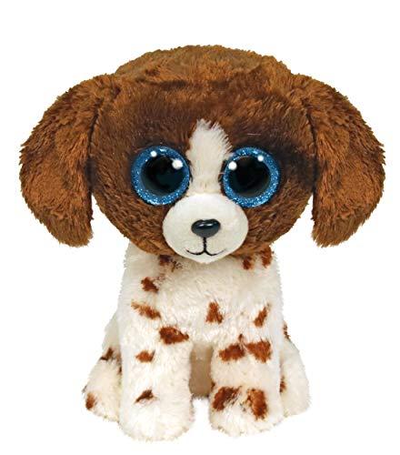 TY 2007525 Muddles Brown & White Dog Beanie Boo Medium ausgestopftes Tier, Mehrfarbig