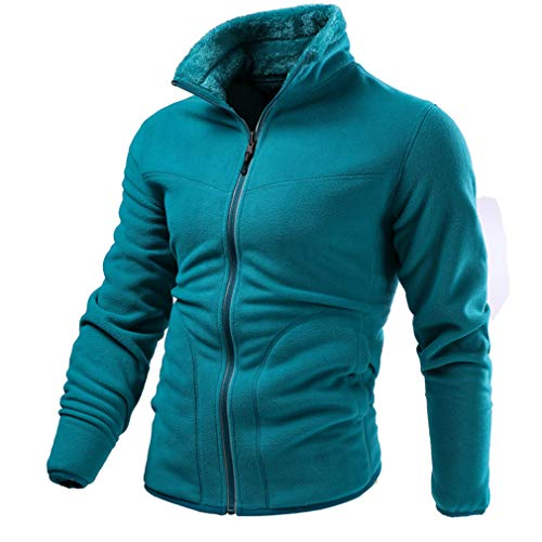 CIKRILAN Men's Reversible Thermal Fleece Jacket Full Zip Long Sleeve Bodywarmer Coat Outdoor Warm Polar Fleece Jacket(XXL, Blue)