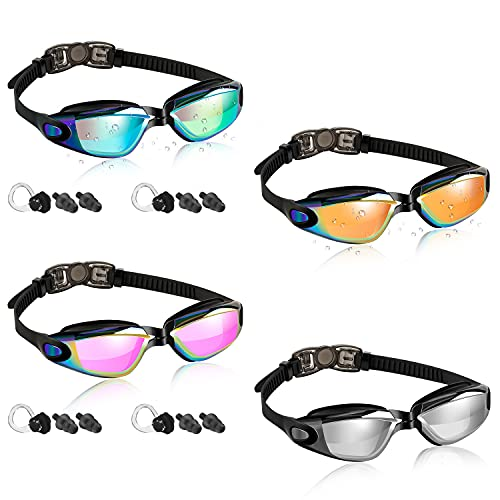 Dapaser 4 Pack Swimming Goggles, Adult Kids Swim Goggles for Men Women Youth No Leaking Anti Fog