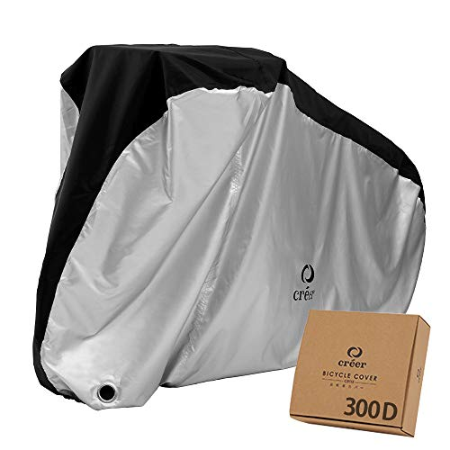 Créer Bicycle Cover, Ultra Thick Version, Can Be Used As A Bike Cover, 300D Waterproof, [Heavy Duty/Tear Resistant 2021 Version] Rain Protection, UV Treatment, Anti-theft Lockhole/Storage Bag Included (300D Regular Type)