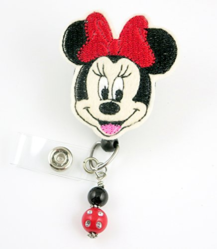 Girl Mouse red Bow lrg - Nurse Badge Reel - Retractable ID Badge Holder - Nurse Badge - Badge Clip - Badge Reels - Pediatric - RN - Name Badge Holder