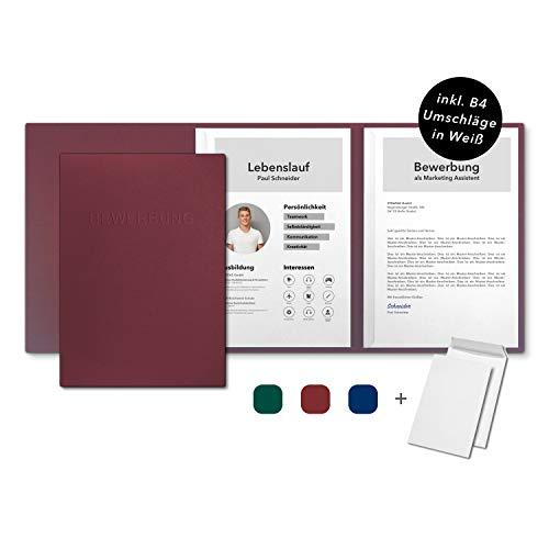 10 Stück 3-teilige Bewerbungsmappen favorit 'Berry Red' mit 2 Klemmschienen - inkl. 10 Versandtaschen in Weiß - Premium-Karton mit eindrucksvoller Relief-Prägung BEWERBUNG