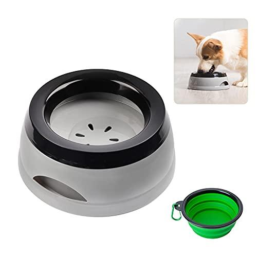 Wassernapf Hund Unterwegs, 750ml Auslaufsicher Spritzschutz praktischer Reisenapf für Hunde Katze und Zusammenklappbare Schüssel mit Karabinern, Haustierwasserschale für Auto (Grey)