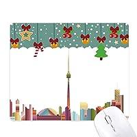 カナダランドマークと都市の水彩画 ゲーム用スライドゴムのマウスパッドクリスマス