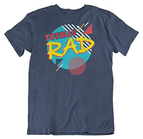 Totally Rad Geometric Pattern 80s Or 1980s Retro Themed T-Shirt Navy