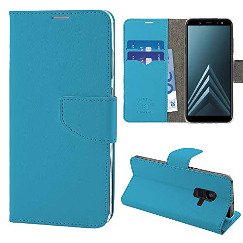 NewTop Cover Compatibile per Samsung Galaxy A6 2018/Plus, HQ Lateral Custodia Libro Flip Magnetica Portafoglio Simil Pelle Stand (per A6 2018, Azzurro)