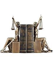 Dame Scales of Justice Statue, de Romeinse godin boekensteunen Resin figuur Geweldig voor Advocaat Judge Advocate Sculptuur, Bronze Final-Dorado 11x13.5x26cm (4x5x10inch)