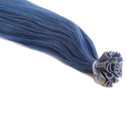 Extensions Cheveux Kératine 25 mèches indiennes 0,8gr Bleu 50cm