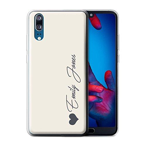 Stuff4® Personalisiert Persönlich Pastell Töne Gel/TPU Hülle für Huawei P20 / Elfenbein Herz Design/Initiale/Name/Text Schutzhülle/Hülle/Etui