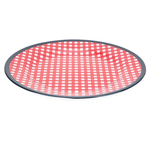 22 mm temperatura no cena plato cocina vajilla para el hogar cocina uso para lavavajillas (cuadros rojos)