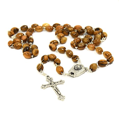 Wooden Rosary Beads with Jordan River Water Aqua JORDANIS Capsule and Cross - Made in Bethlehem with Certificate of Authenticity in Cotton Pouch - Christian Necklace for Men & Women