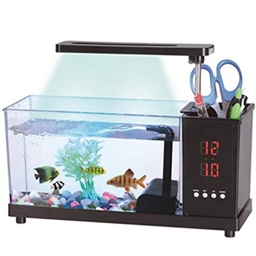 LED-Licht-Kalender Aquarium USB Mini Acryl-Aquarium Zier Ökologie Mit Multi-Funktions-Stifthalter 27.2x9x13.3cm (Farbe : Schwarz)