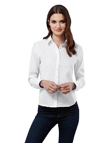 EMBRAER Camisa de Mujer Elegante, Corte Recto (Casual-fit), 100% algodón, Manga-Larga, Cuello Kent, con entredós de Contraste, de Cuadros