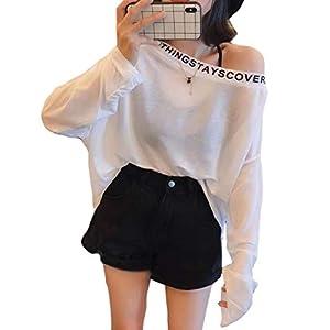 (BaLuoTe)黒tシャツ 韓国ファッション レディース 長袖 tシャツ 薄手 通気 ロングt ゆる オーバーサイズ レディース トップス 原宿風 BF風 英字付け 綿 ドロップシッルダーホワイトT0