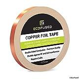 Cinta Adhesiva de primera calidad de cobre - Conducto de doble cara - 0.5 pulgadas (12.7mm) - Blindaje EMI y RF, Circuitos de papel, Reparaciones eléctricas, Conexión a tierra, Repelente de babosas
