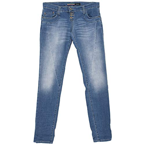 Please, P68C, Damen Jeans Hose, Stretchdenim, Midblue, M [21753]