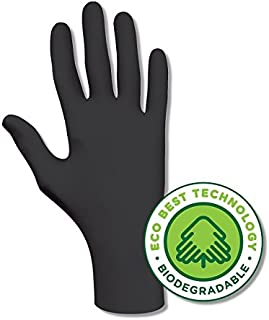 Showa Best 6112PF EcoBestTechnology Biodegradable Industrial Grade Nitrile Glove, Disposable, Powder-Free, 4 mil Thickness, Medium, Black (Pack of 100)