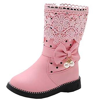 DADAWEN Girl s Waterproof Lace Bowknot Side Zipper Fur Winter Boots  Toddler/Little Kid/Big Kid  Pink Update  US Size 2.5 M Little Kid