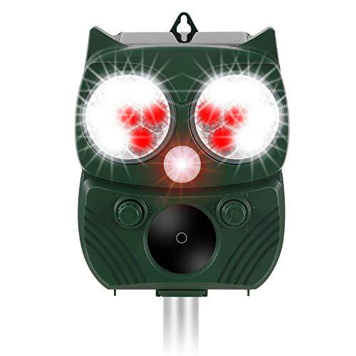 Winload Solar Cat Repellent, Ultrasonic Animal Repeller, Waterproof Solar Powered Cat Deterrent with PIR Motion Sensor, Battery Operated Scarer with 14 Flashing Light for Garden Yard Field Farm