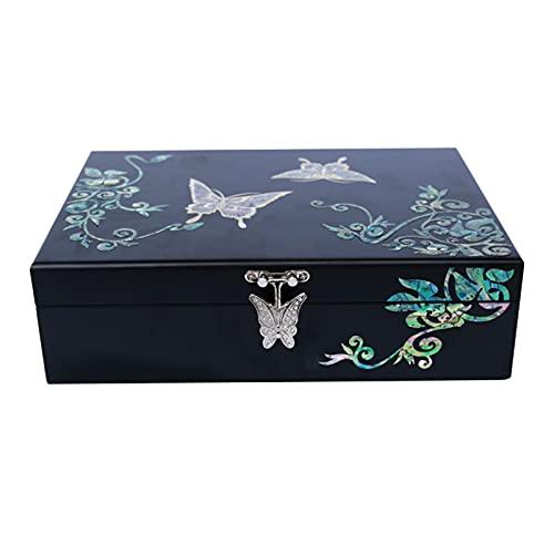 Boîte à bijoux XIAOXIAO en Bois De Style Chinois avec Miroir Vitrine Décorative À Une Seule Couche Faite À La Main Organisateur De Stockage De Souvenirs Boucle en Forme De Papillon pour Les Filles