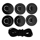 YiMusic Heavy Duty SUP Bungee Deck Rigging Kit with 6 Pieces Stainless Steel D-ring Patch suit for PVC Inflatable Boat Kayak Canoe Deck Accessories (Black)