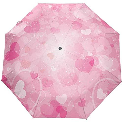 Liebe Rosa Herzen Valentinstag Blumen Frühling Sommer Auto Öffnen Schließen Sonne Regen Regenschirm