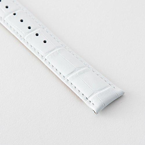 『【タッチ・ザ・スカイ】Touch The Sky 腕時計 ベルト 本革 クロコダイル型押し ベルト白×ステッチ同色/18mm』の5枚目の画像