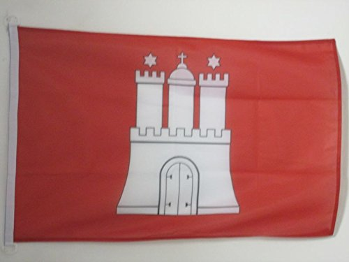 AZ FLAG BOOTFLAGGE Hamburg 45x30cm - Hamburg BOOTSFAHNE 30 x 45 cm Marine flaggen Top Qualität