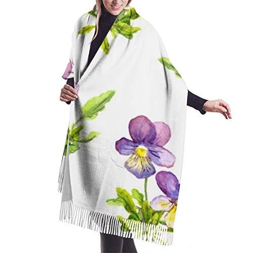 PlaceHeart Aquarell-gemalt, nahtlos, mit violetten Stiefmütterchen, Viola, Blumen, Schal, groß, weich, gemütlich, Kaschmir-Schal, Winter, warm, Übergröße
