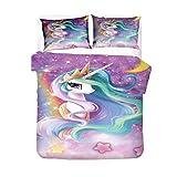 AMCYT Juego de ropa de cama mágico de unicornio, microfibra, transpirable, cómodo, suave, con fundas de almohada para invierno, otoño, verano, para niñas y niños, 5, 220*260