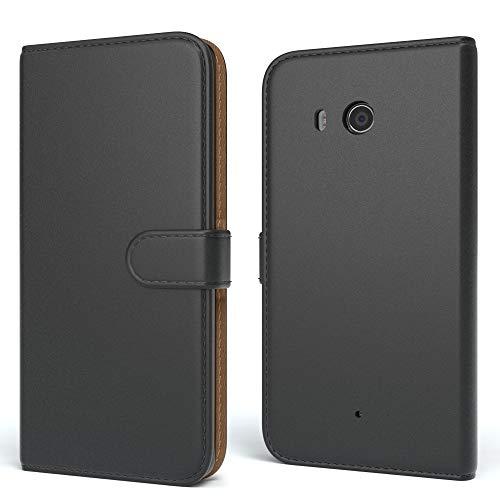 EAZY CASE Tasche kompatibel mit Huawei Ascend Y330 Schutzhülle mit Standfunktion Klapphülle im Bookstyle, Handytasche Handyhülle Flip Cover mit Magnetverschluss & Kartenfach, Kunstleder, Schwarz